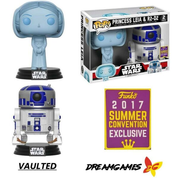 Figurine Pop Star Wars 2 Pack Princess Leia & R2-D2 SDCC 2017 Convention Exclusive VAULTED