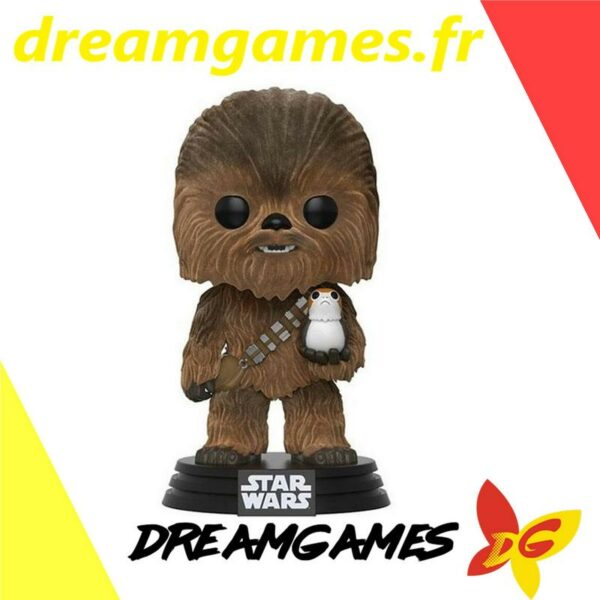 Figurine Pop Star Wars 195 Chewbacca with Porg Flocked