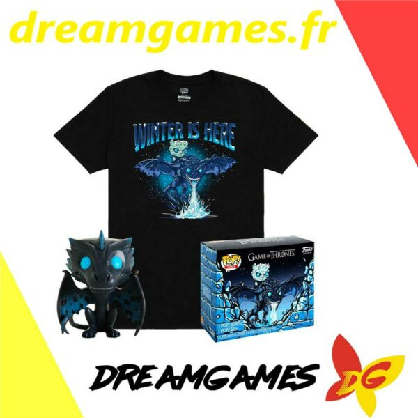 Figurine Pop Game of Thrones Icy Viserion + tee shirt L